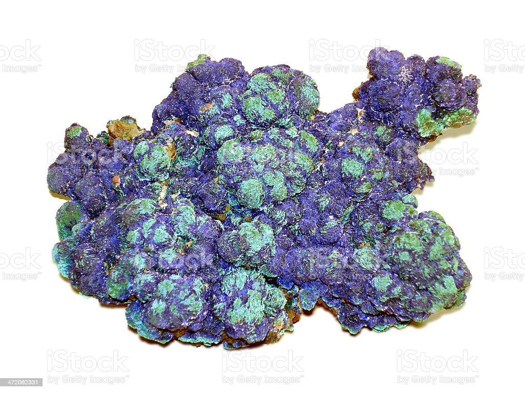 Azurite and Malachite copper mineral stock photo