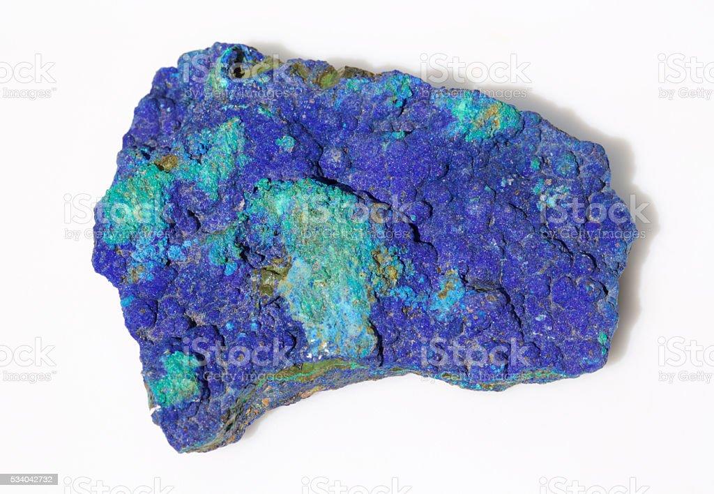 azurite and malachite mineral specimen stock photo
