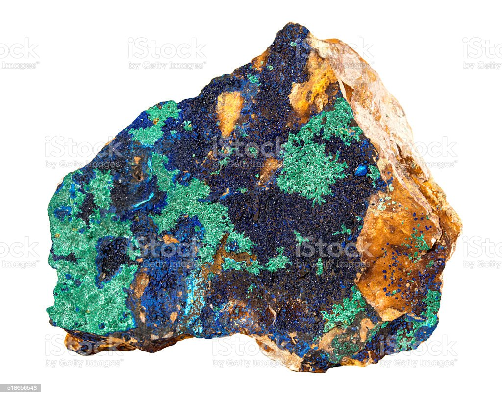 Azurite deep blue with green copper isolated on white background stock photo