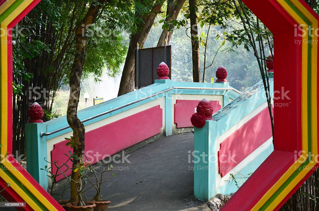Ba Gua in Chinese Garden at Thailand Temple stock photo