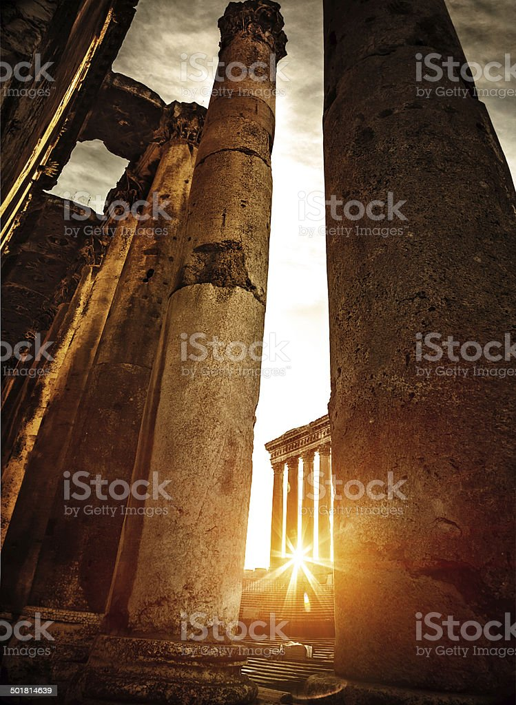 Baalbeck ruins in sunset stock photo