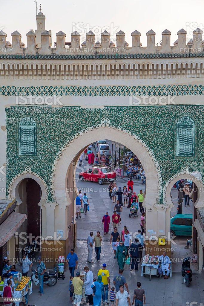 Bab Bou Jeloud gate (Blue Gate) in Fez, Morocco stock photo