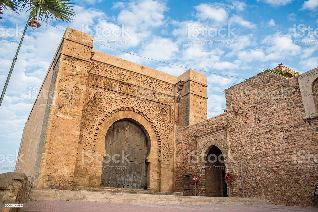 Bab el Kebir gate of Kasbah of the Udayas. stock photo