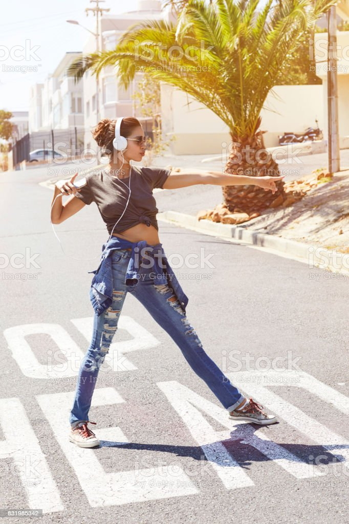 Babe dancing in street stock photo