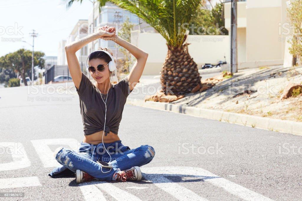 Babe in street stock photo