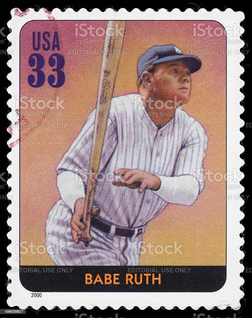 USA Babe Ruth postage stamp royalty-free stock photo