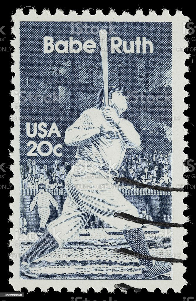 USA Babe Ruth postage stamp stock photo