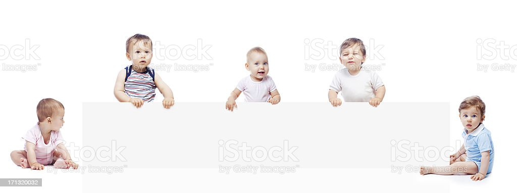 Babies with banner stock photo