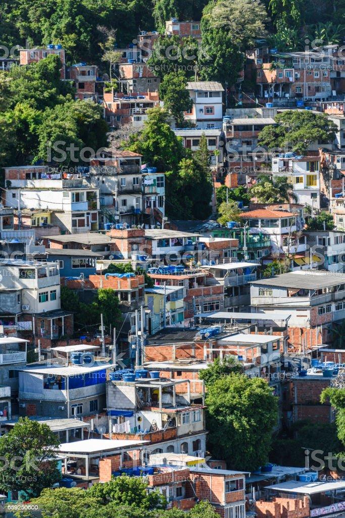 Babilonia Chapeu-Mangueira Favela in Copacabana, Rio de Janeiro, Brazil stock photo