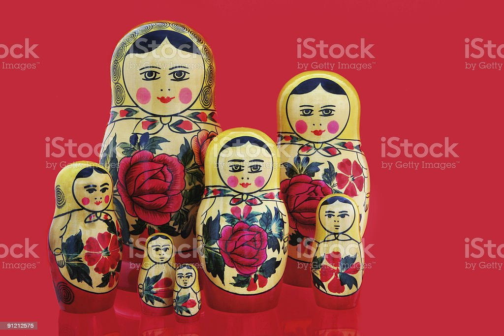 Babushka on Red royalty-free stock photo