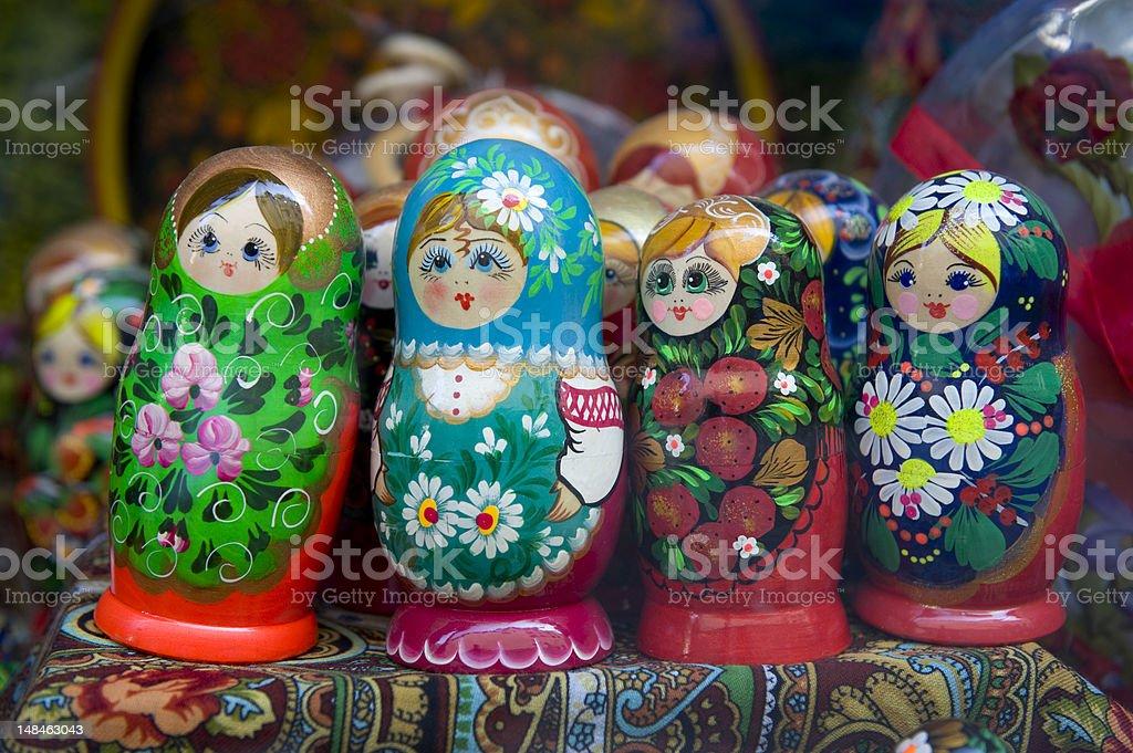 babushka or matrioshka russian dolls stock photo
