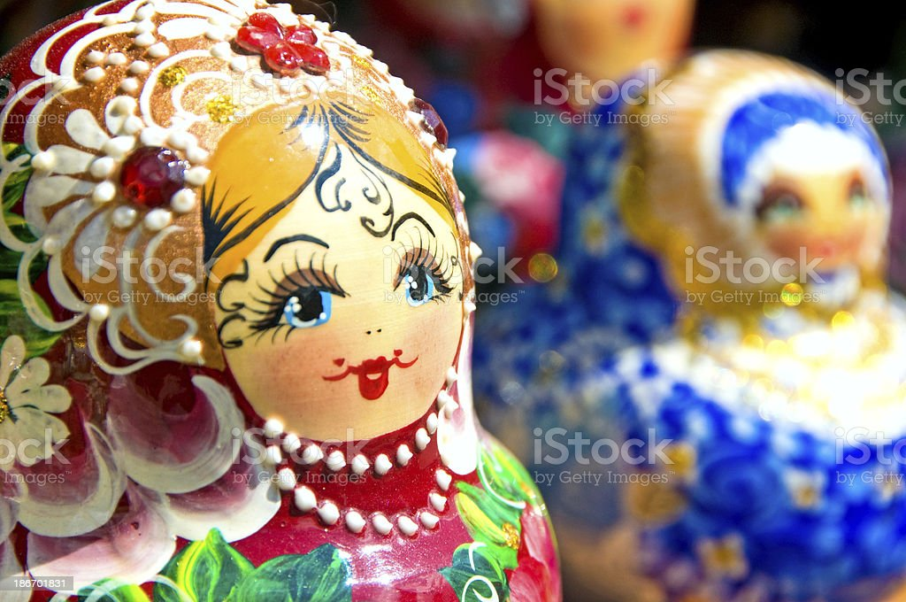 Babushka or Matryoshka Nesting Russian Dolls stock photo