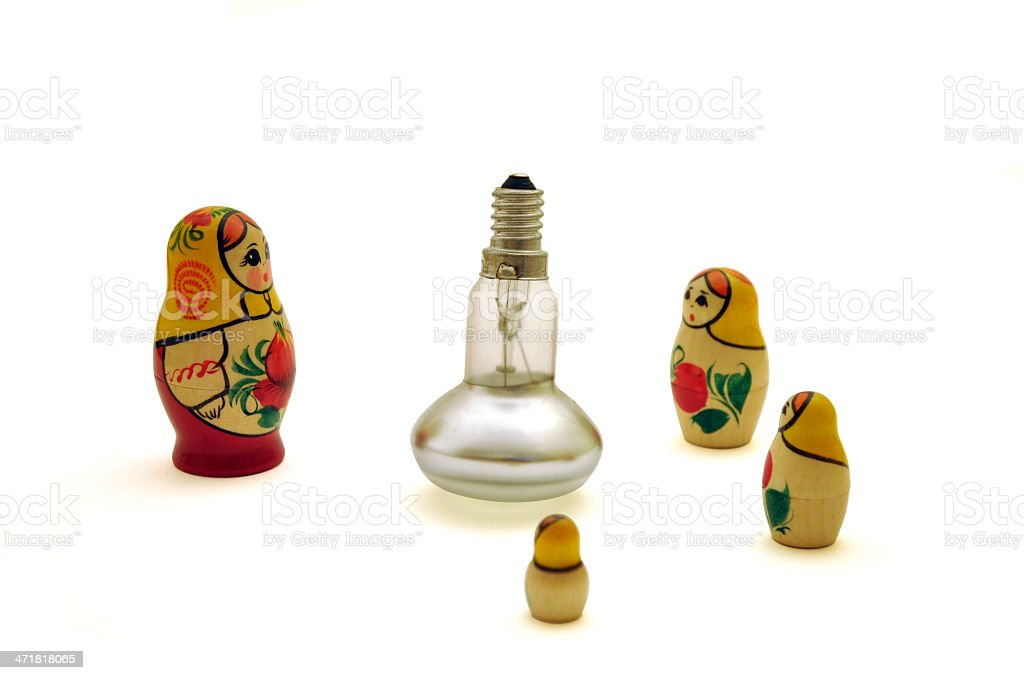 Babushka - Russian doll and bulb royalty-free stock photo