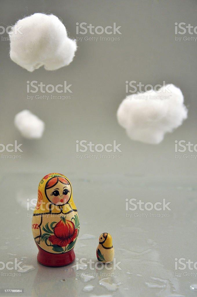 Babushkas on the rain royalty-free stock photo