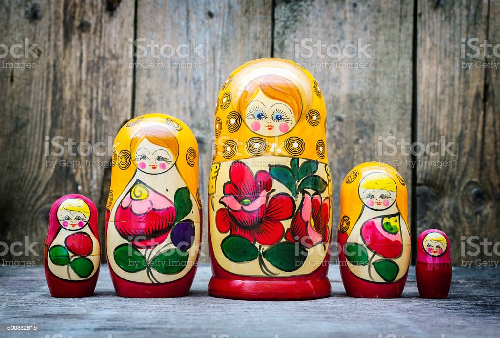 Babushkas or matryoshkas dolls. stock photo