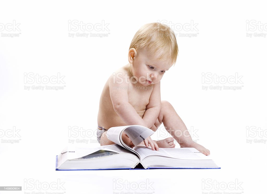 Baby and a book royalty-free stock photo