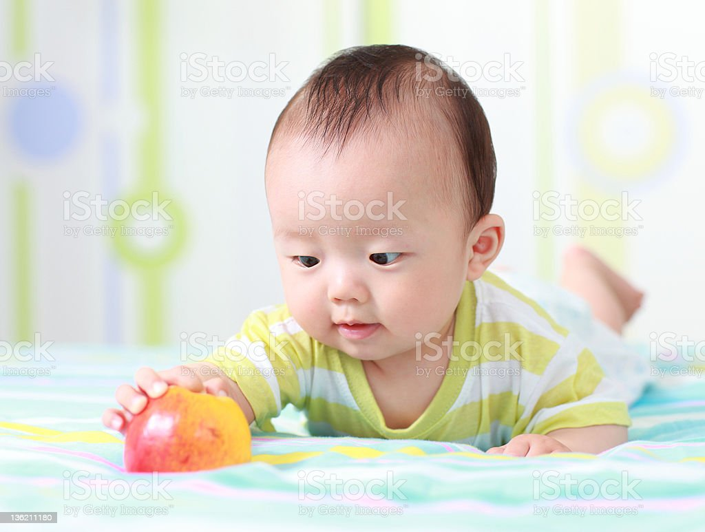 Baby and apple royalty-free stock photo