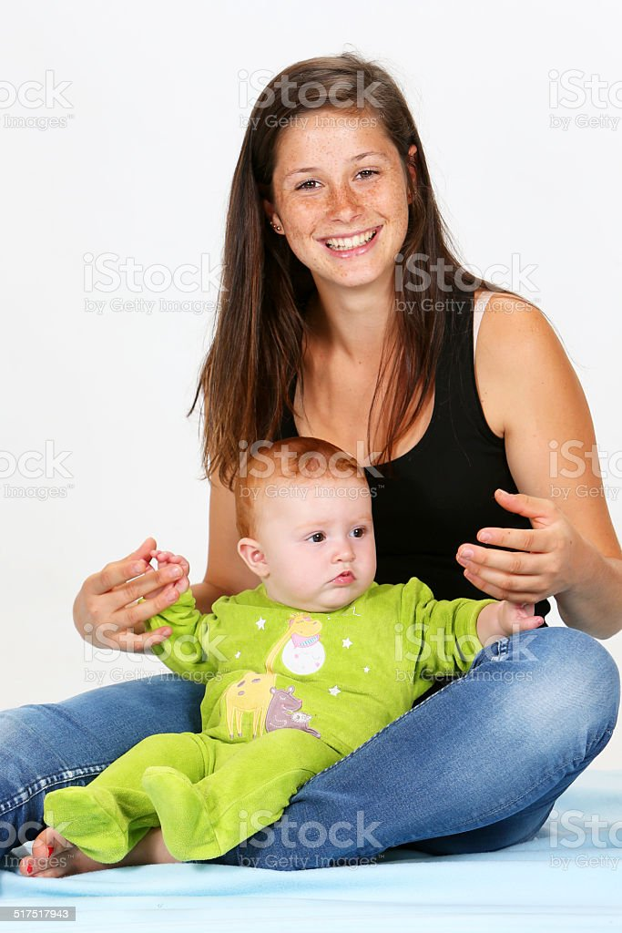 Baby and Babysitter stock photo