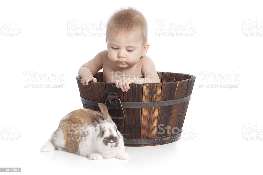 Baby and Bunny royalty-free stock photo
