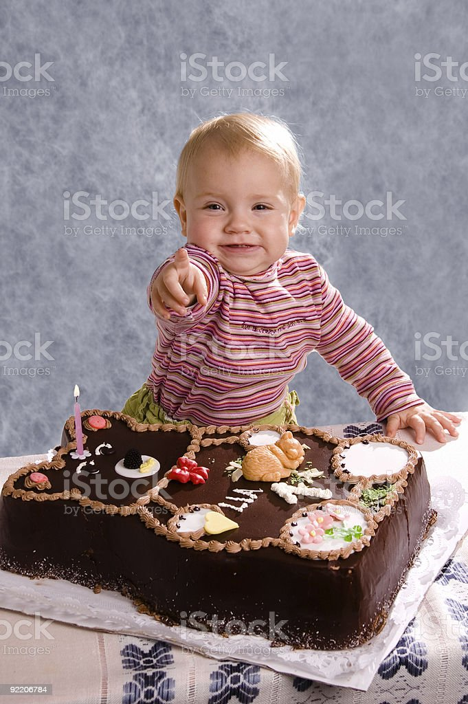 Baby and Cake 3 royalty-free stock photo