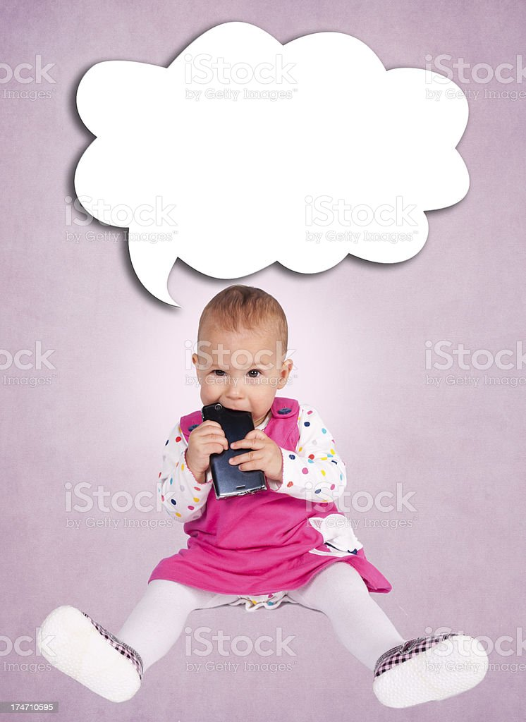 Baby and cell phone royalty-free stock photo