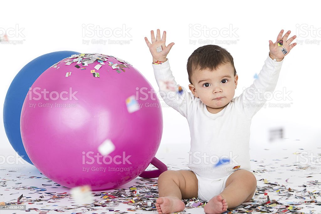 Baby and confetti royalty-free stock photo