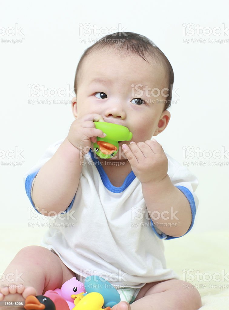 Baby and duck royalty-free stock photo