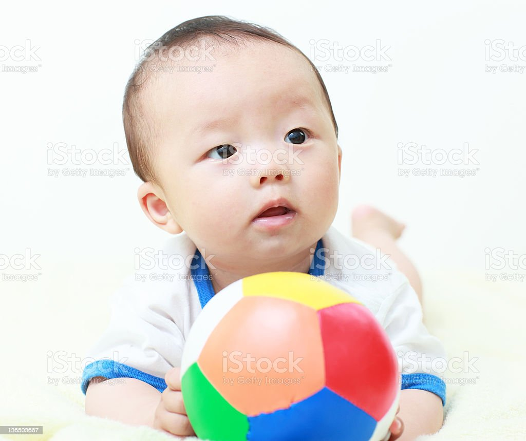 Baby and football royalty-free stock photo
