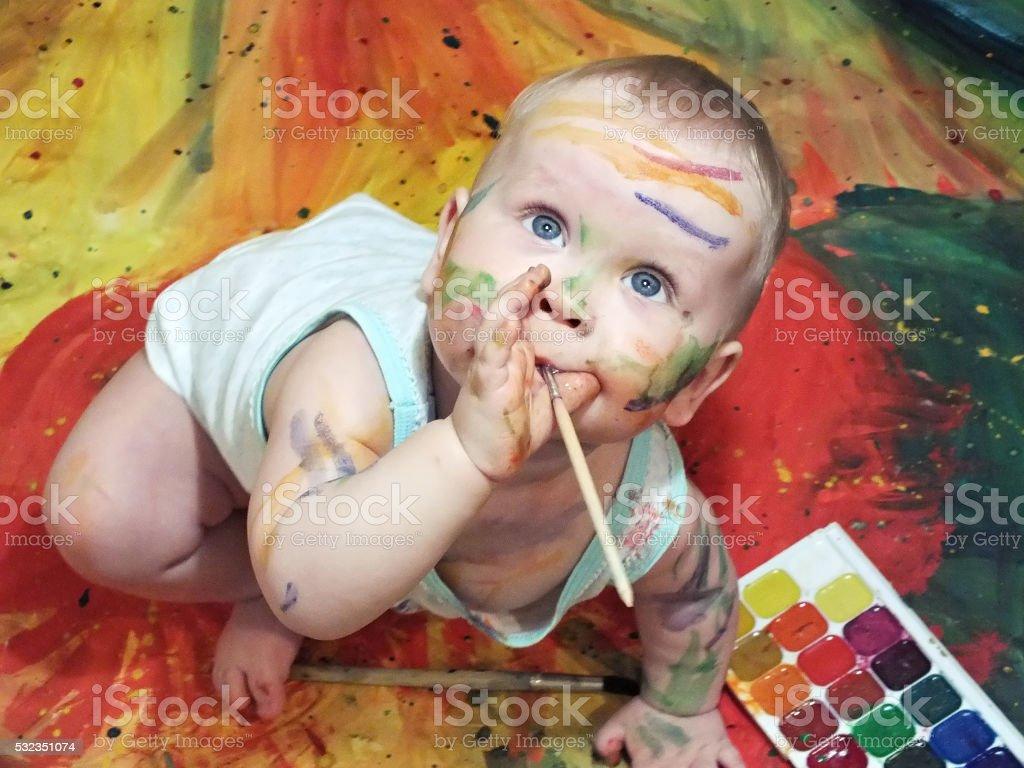 Baby and Gouache stock photo