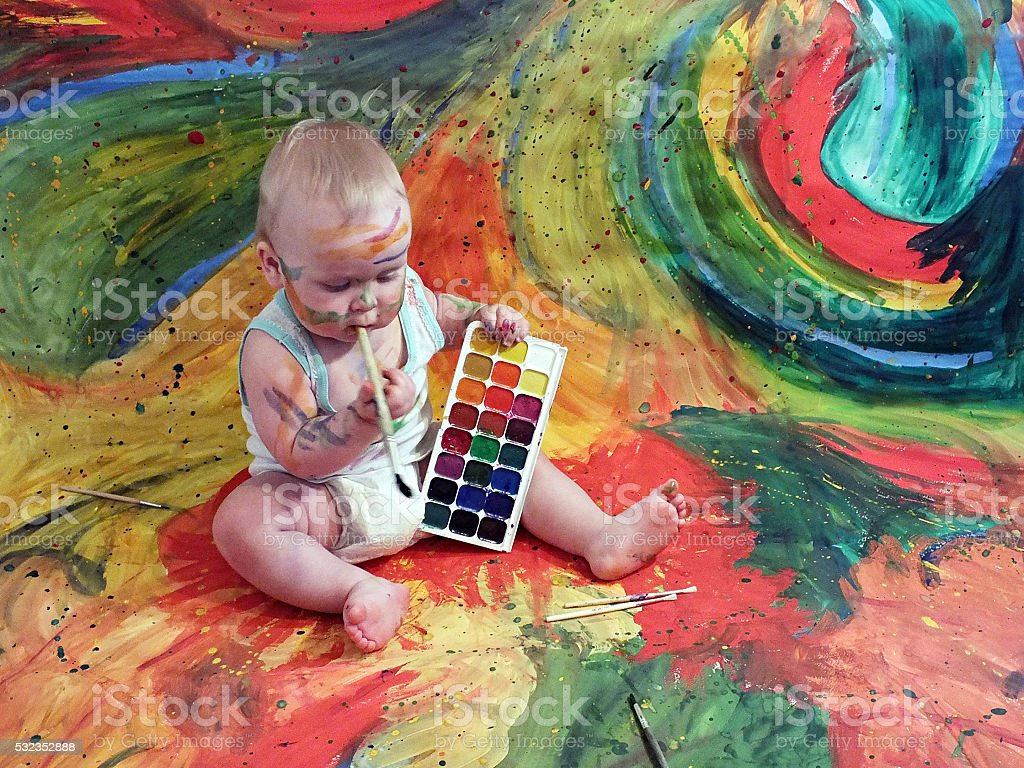 Baby and Gouache stock photo
