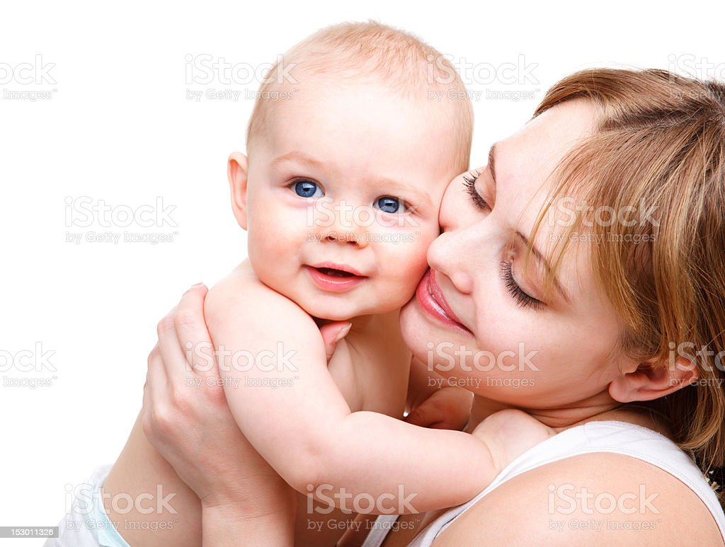 Baby and his mother stock photo