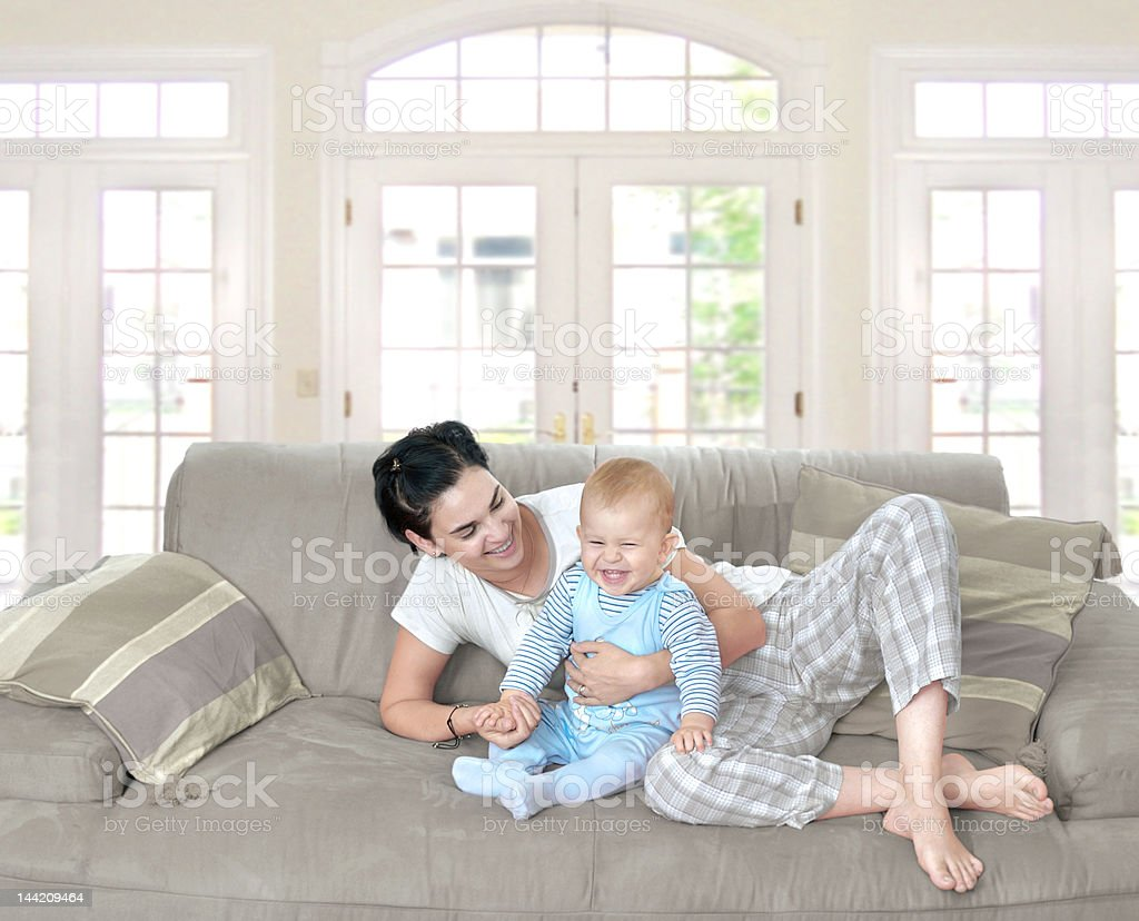 Baby and mother at home royalty-free stock photo