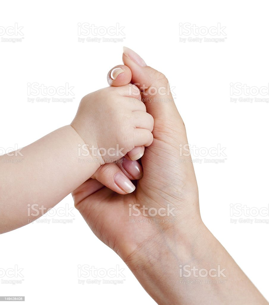 baby and mothers hands isolated on white royalty-free stock photo