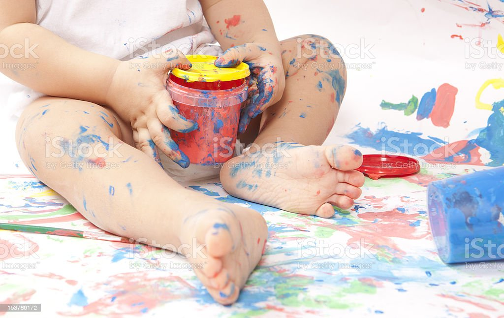 Baby and paint royalty-free stock photo
