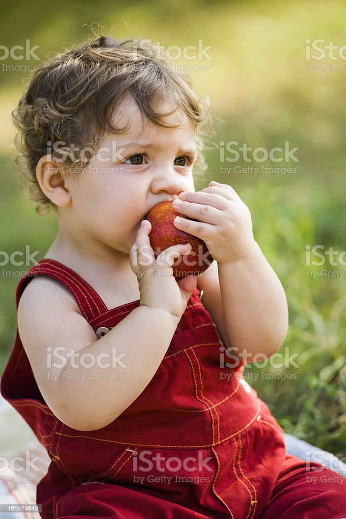 Baby and peach royalty-free stock photo