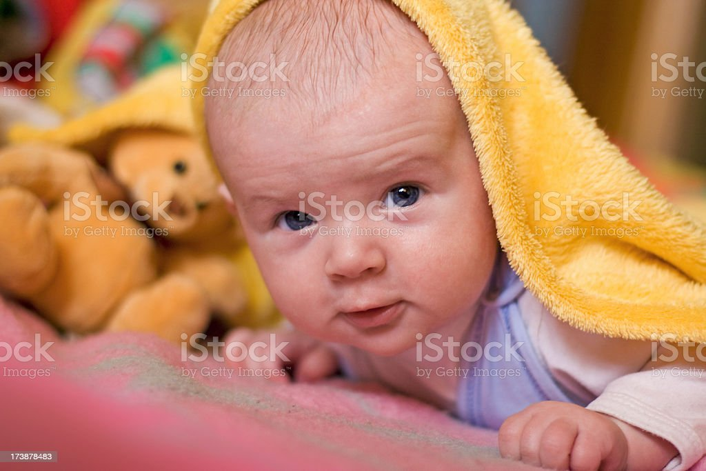 Baby and Teddy Bear royalty-free stock photo