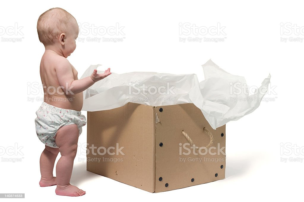 baby and the box royalty-free stock photo