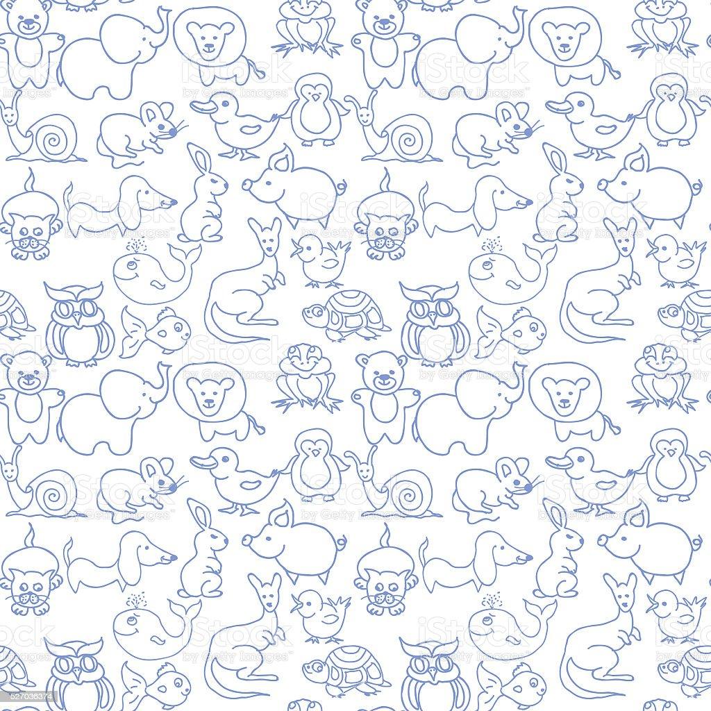 Baby animals icons seamless pattern monochrome stock photo