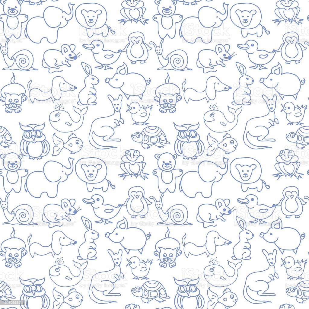 Baby animals icons seamless pattern monochrome stock photo
