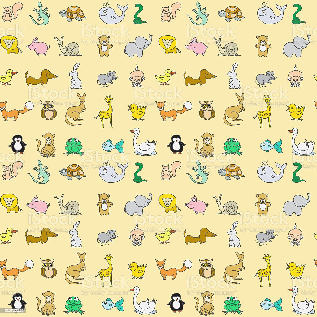 Baby animals icons seamless pattern stock photo