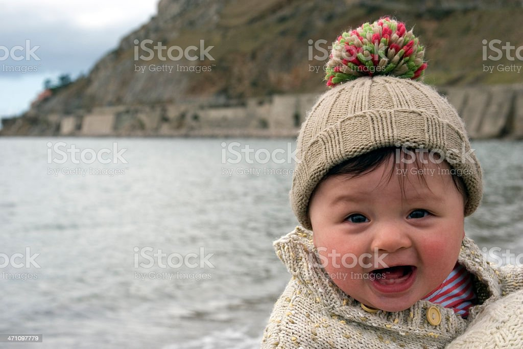 Baby at the seaside, great expression royalty-free stock photo