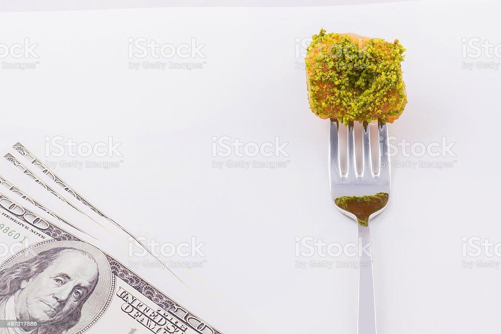 baby back baklava on fork stock photo