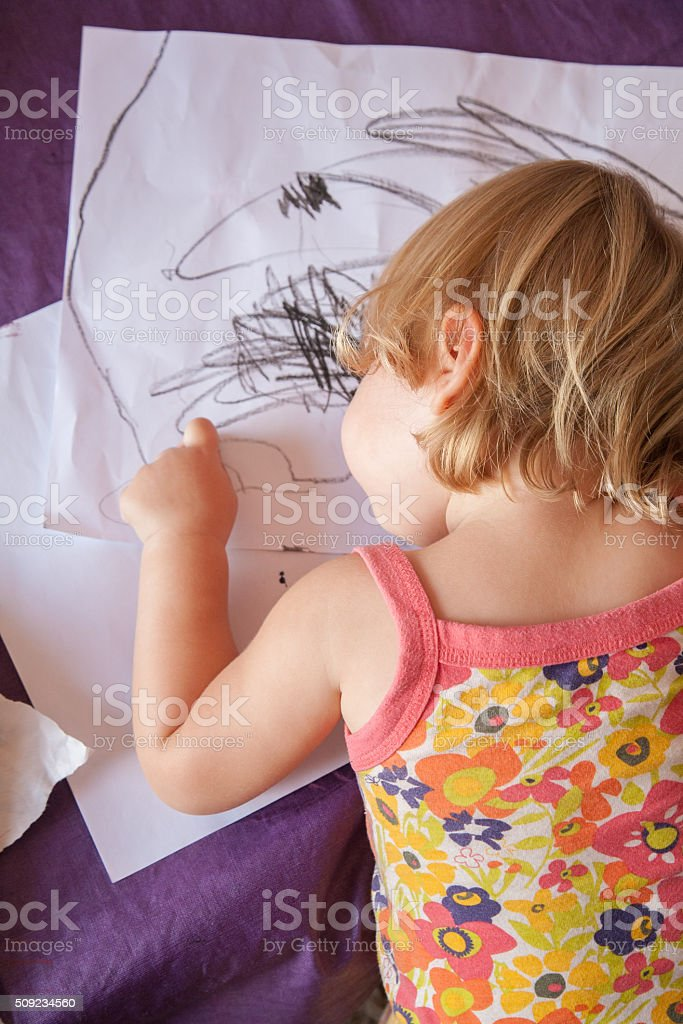 baby back painting white sheets stock photo