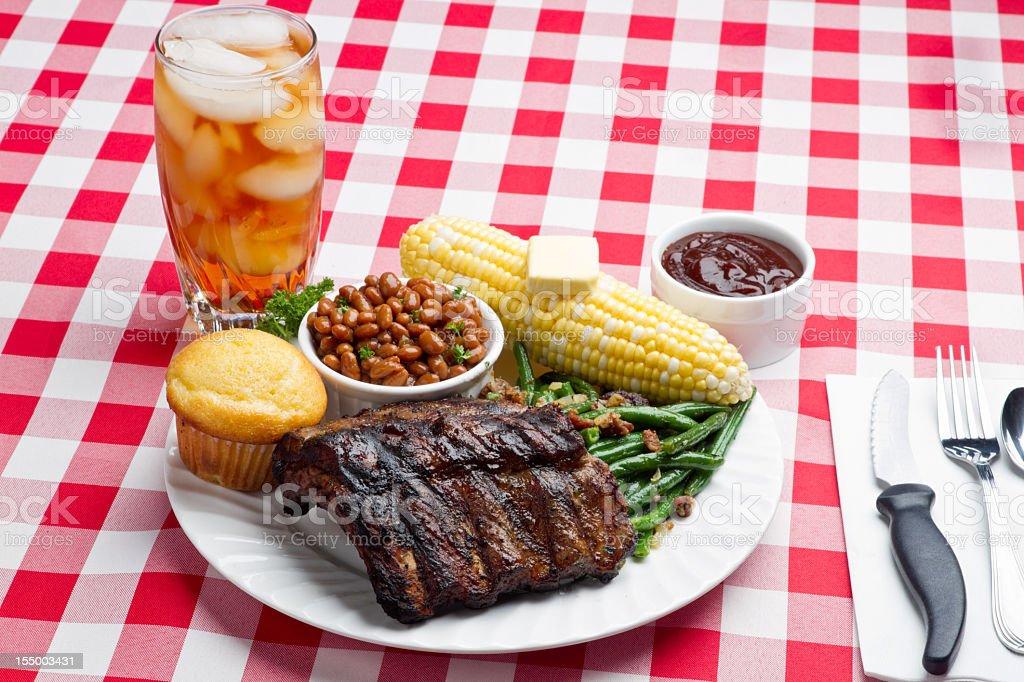 Baby Back Pork Ribs, Baked Beans, Corn on the Cob stock photo