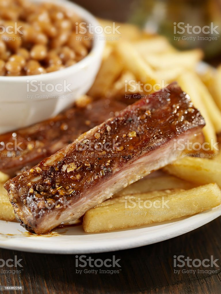 Baby Back Pork Ribs With Baked Beans royalty-free stock photo