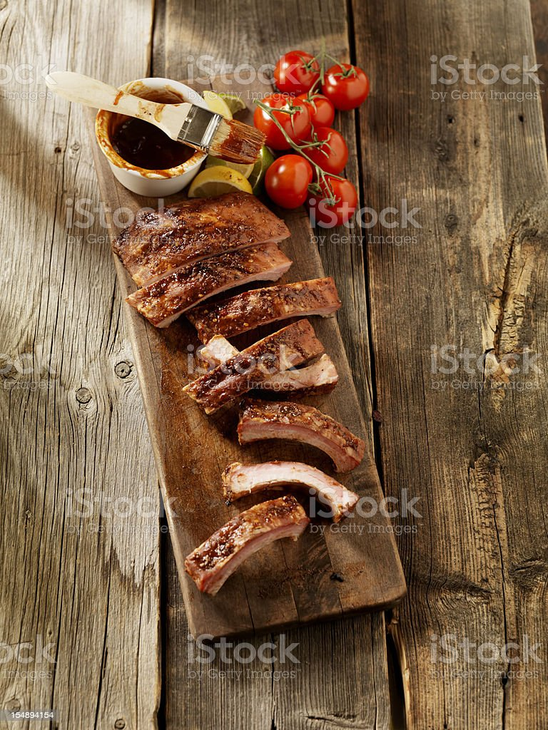 Baby Back Pork Ribs with Sauce stock photo