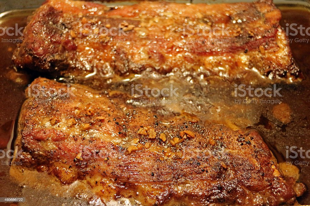 Baby Back Ribs Baked in oil marinade stock photo