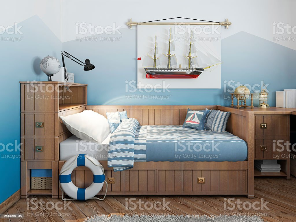 Baby bed for a young teenager in a ship stock photo