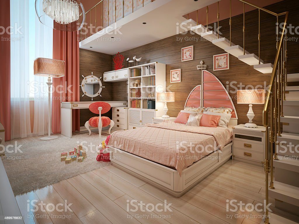 Baby bed in nautical style stock photo