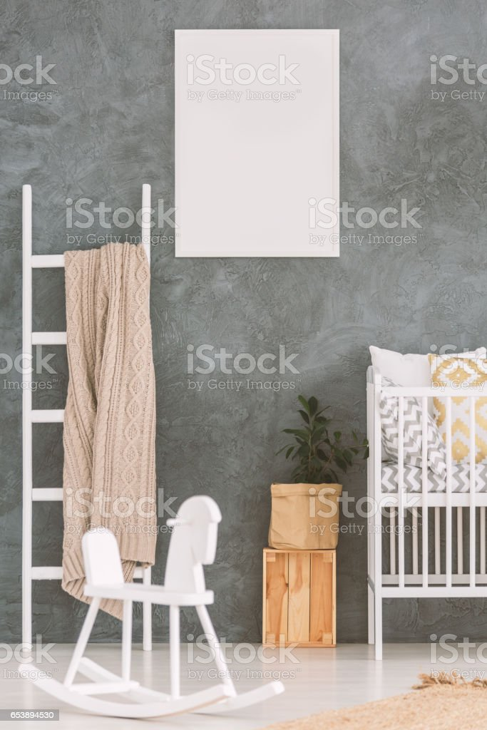 Baby bedroom with white cot stock photo